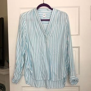 Blue and white striped split neck blouse